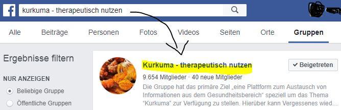 Kurkuma Facebook-Gruppe